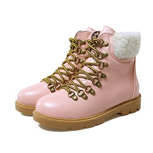 Toe Pu Closed Low Pink Lace Round Boots Heels Solid AgooLar up Women's qY8tq4U