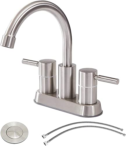 Commercial Double Handle Brushed Nickel Bathroom Faucet, Stainless Steel Bathroom Sink Faucet Lavatory Faucets with Pop-Up Drain and Hot Cold Water Hose