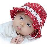 【紫外線からベビーを守る&選べる8色】水玉 可愛い 帽子 つば 付き フリル リボン ドット 花 フラワー フード ベビー キッズ 日焼け 帽子 UV 日よけ