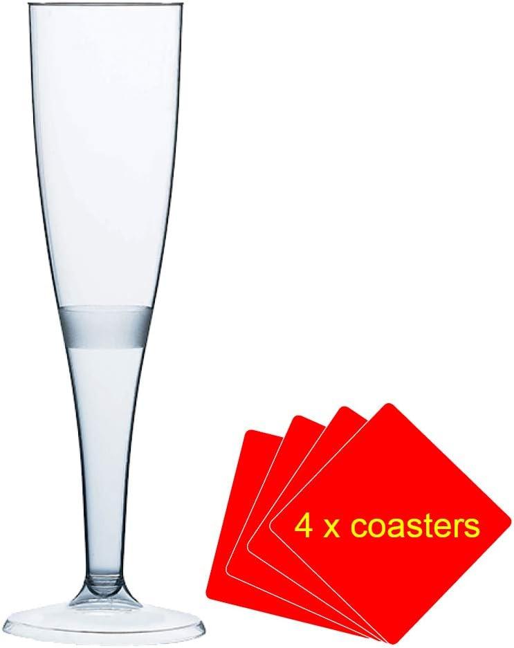 50 x de copas de champán fabricado en plástico de alta calidad 160 ml (6 oz). Ideal para picnics, acampada o glamping, festivales, al aire libre de billar, barbacoa, diseño de flores y cualquier otra