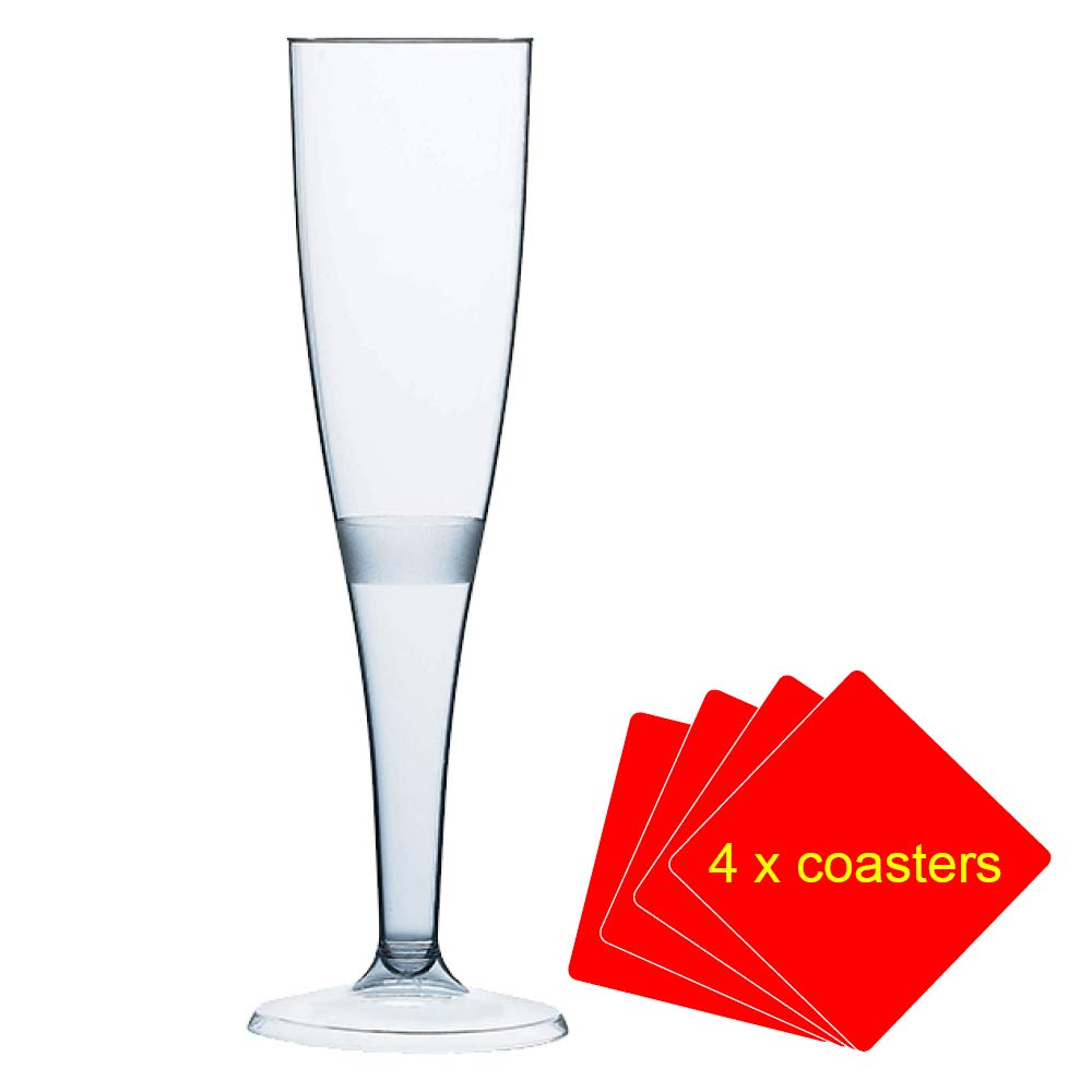 50 x Champagne flutes made of high quality plastic 160 ml (6oz). Ideal for picnics, camping and glamping, festivals, outdoor pool, barbecues (bbq), garden and special occasions. Offer Pack of 50 glasses with 4 x AIOS drinks mats