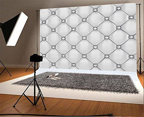Laeacco 10x6.5ft Vinyl Backdrop Photography Background White Upholstery Pattern With Diamond Buttons Fantasy Rhombus Wallpaper Children Baby Kids Adults Portraits Backdrop Greay Tone Photo Studio Prop (Upholstery Tone)