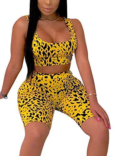 Women High Waist Bodycon Bermuda Shorts Tracksuit Sexy Print Crop Top & Shorts Set 2 Piece Outfit Yellow ()