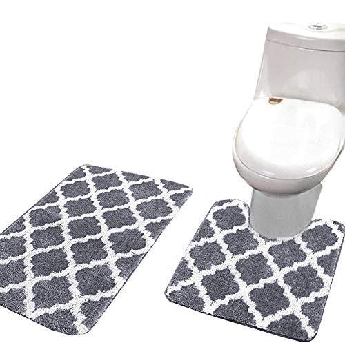 Square Contour Rug (ShowerC Non Slip Bath Rug Set 2 Piece Bathroom Contour Rugs Combo, Soft Shaggy Bath Shower Mat 20 x 32 Inches and U-Shaped Toilet Floor Rug Grey 20 x 20 Inches)