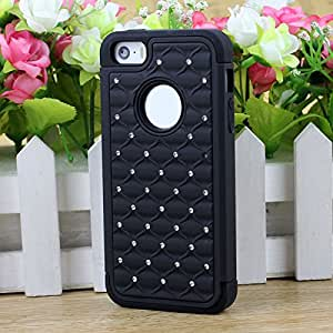 ZPS(TM) Fashion Chrome Bling Rhombus Grid Hard Case Cover For IPhone 5G/5S (Black)
