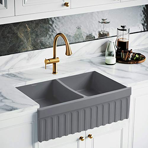Whitehaus Collection WHQDB332-M-CEMENT Quatro Alcove Kitchen, Fireclay, Front Apron Sink, Matte Grey ()