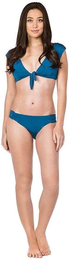 Trina Turk Womens Tie Front Cap Sleeve Hipster Bikini Swimsuit Top