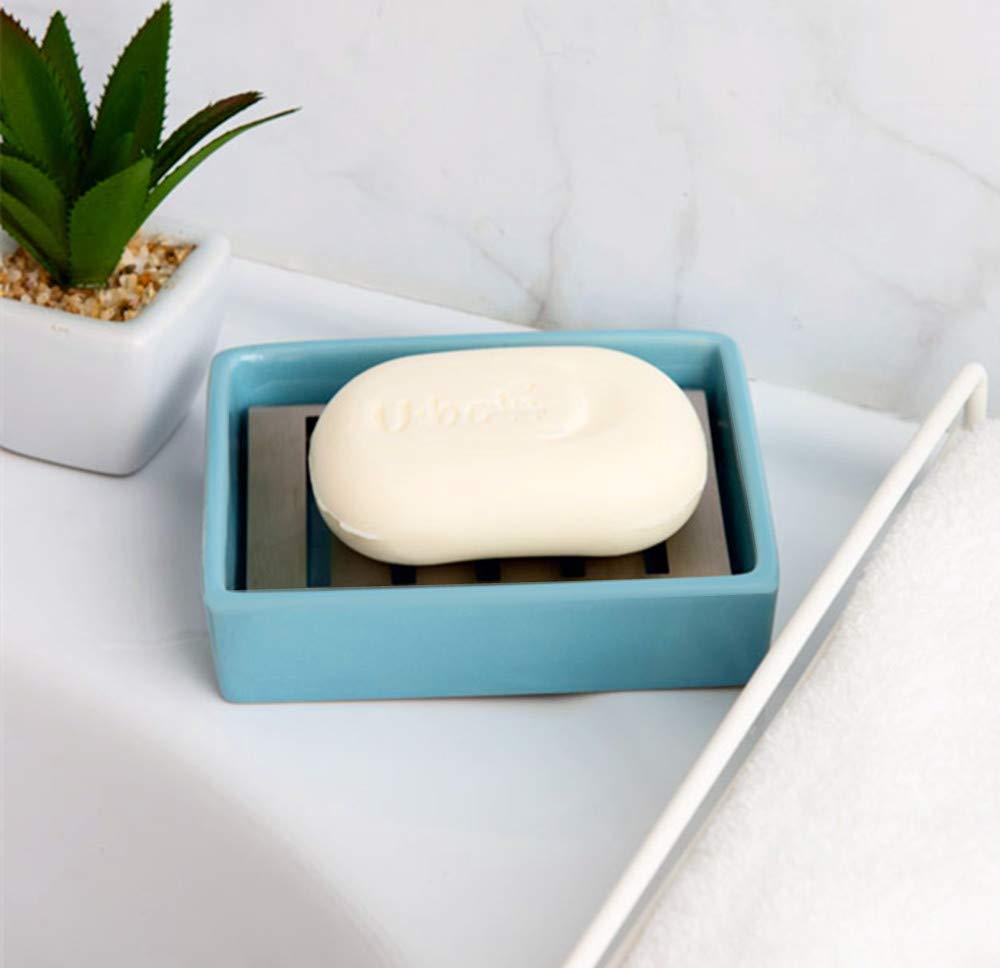 Bianco portasapone con Acciaio Inox VieVogue Portasapone in Ceramica Portasapone per Lavabo Doppio Strato di Scarico per Cucina Bagno e Doccia