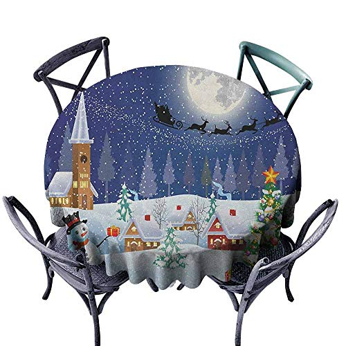 (Wedding Round Tablecloth Circular Table Cover Christmas,Winter Season Snowman Xmas Tree Santa Sleigh Moon Present Boxes Snow and Stars, Blue White Diameter 70