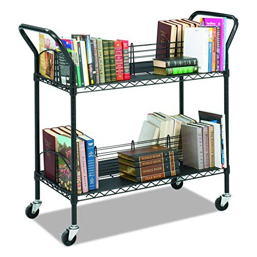 (Safco Products 5333BL Wire Book Cart, 2 Shelf, Black)