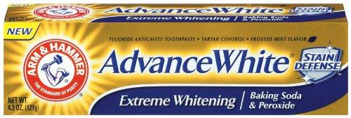 Arm & Hammer avancée Blanc dentifrice, dentaire de bicarbonate de soude et de peroxyde, Tubes de 4,3 once, l'emballage peut varier (pack de 6)