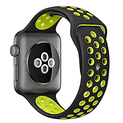 Inteny Apple Watch Band Series 1 Series 2, Soft Silicone Nike+ Sport Band Replacement Wrist Strap for iWatch,42mm,M/L,size,Black&Volt Yellow