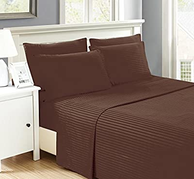 Brooklyn Chic Embossed Stripped 6 piece sheet sets Extra Pillow Cases Wrinkle Free, Stain Resistant, Chocolate Queen Microfiber