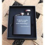 Custom Engraved Flask Set Famous Quote by Ernest Hemingway