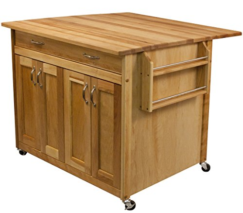 Birch Kitchen Island - Catskill Craftsmen Deep Island with Flat Panel Doors and Drop Leaf