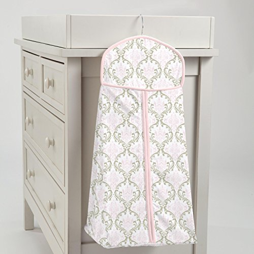 Carousel Designs Pink and Taupe Damask Diaper Stacker by Carousel Designs