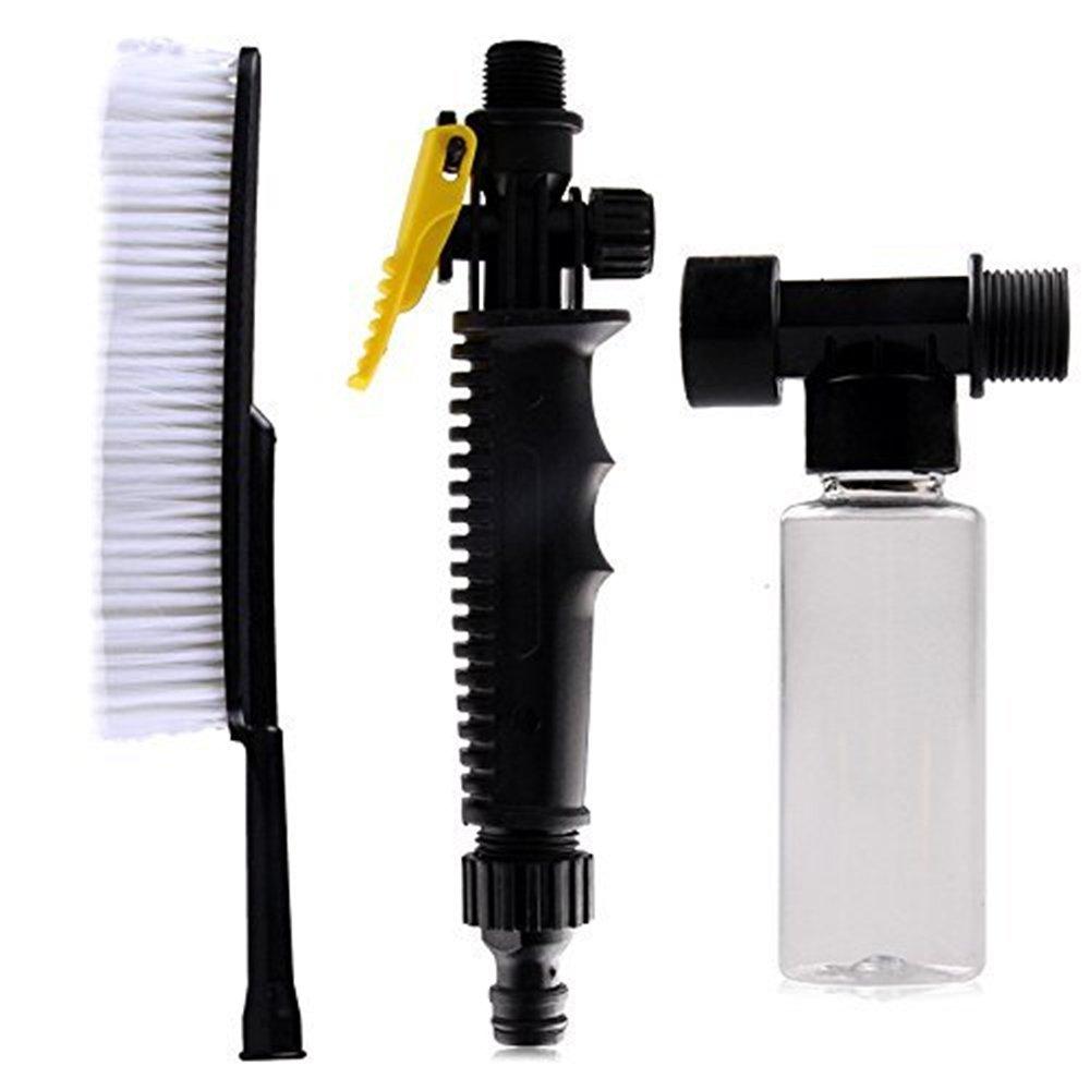 Cepillo suave para lavar el coche, interruptor manual y botella de espuma Rzdeal, accesorio de lavado de coche (blanco y negro)