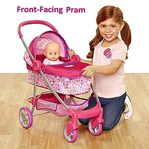 Chicco Baby Doll Stroller, 4-in-1 Pram/Stroller Gift Set, For Baby Dollsup To 18″ Tall, Baby Doll Stroller/Pram Play Set, For Girls Ages 3, 4, 5 & 6 Years Old