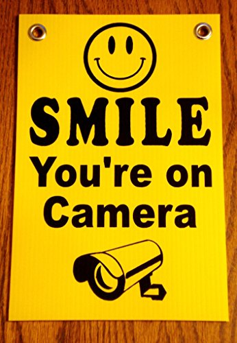 1 Pc Inspiring Unique Smile You're On Camera Security Signs Coroplast Yard 24Hr Protection Surveillance Post Hanger Under Cameras Protected Guardian House Trespassing Printed Size 8