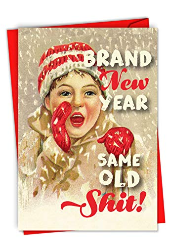 Brand New Year: Humorous Christmas Card Showing a Vintage Retro Style Advertisement for Santa Claus, with Envelope. C6732XSG
