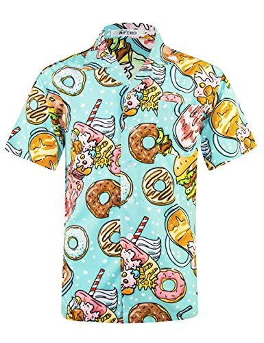 APTRO Men's Hawaiian Shirt 4 Way Stretch Summer Holiday Short Sleeve Shirts (M, Hawaii-027)