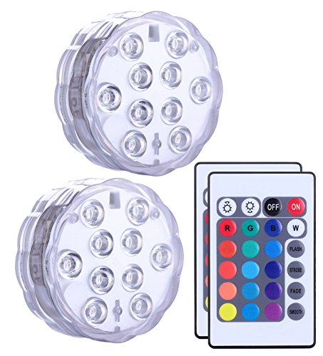 (Qoolife Submersible Led Lights Remote Controlled, Battery Powered, RGB Changing Waterproof Light for Event Party and Home Decoration, Multi Color, Set of 2)