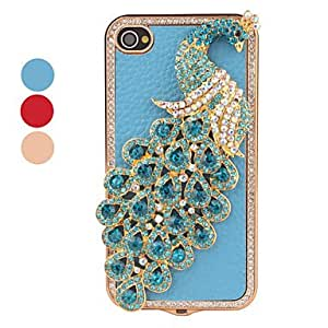 Crystal Peacock Style Case for iPhone 4 and 4S (Assorted Colors) --- COLOR:Pink