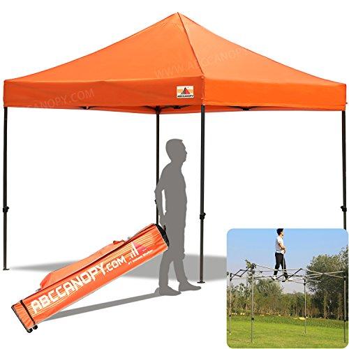 ABCCANOPY 30+Colors Pop Up Canopy 10 X 10-feet Commercial Instant Canopy Kit Ez Pop up Tent,Bonus Roller (Orange 20 Bag)