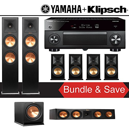 Klipsch RP-280F 7.1-Ch Reference Premiere Home Theater System with Yamaha AVENTAGE RX-A2070BL 9.2-Channel Network A/V Receiver by Klipschhh