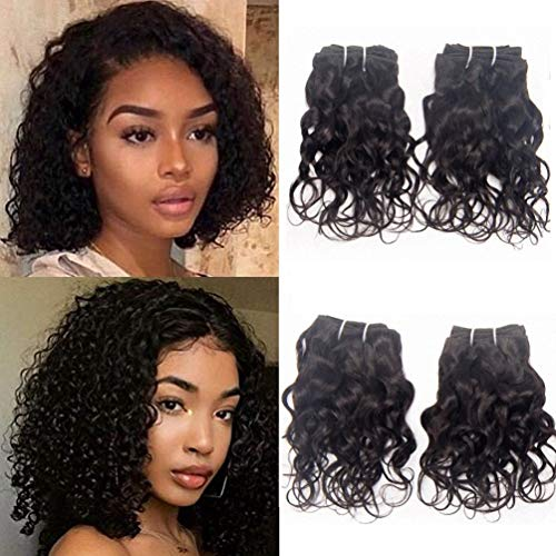 Brazilian Curly Human Hair Weave 4 Bundles Remy Virgin Unprocessed Hair Extensions Italian Curl 8A Grade Natural Black Color 8 Inch -