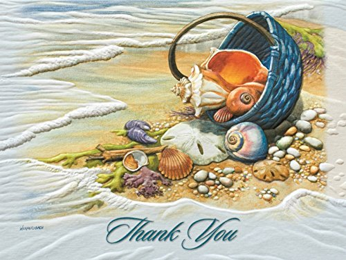 (Pumpernickel Beachcombers Basket of Shells Sculpted Blank 9 Boxed Thank You Cards)