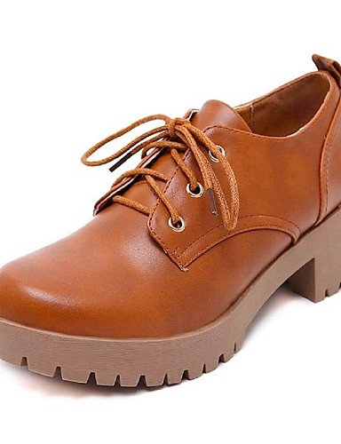 Zq Zapatos us8 Bajo Eu36 Brown 2016 Cn39 Semicuero Cn36 Brown Tacón Punta Negro Uk4 Casual De Mujer Eu39 Uk6 Redonda Marrón us6 Oxfords rS6rqw5