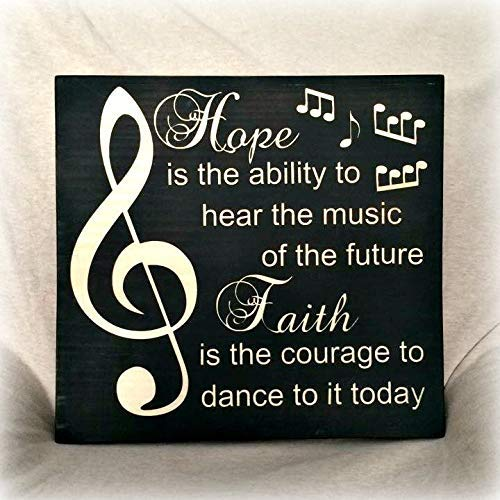 (Wood Plaque Decor Hope Faith Music Typography Painted Wood Desk Sign 11X12 Hand Painted Wall Hanging Wooden Sign)