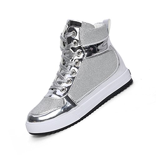 high-top canvas shoes - SODIAL(R)Spring women's casual shoes high-top lace heavy-bottomed canvas shoes Silver 38 ncNFTDHh