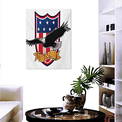 Mannwarehouse American Decorate Stickers for Wall Flying Eagle with USA Flag Armor Design Shape Liberty Wings in Sky Ilustration Wall Art Stickers 16