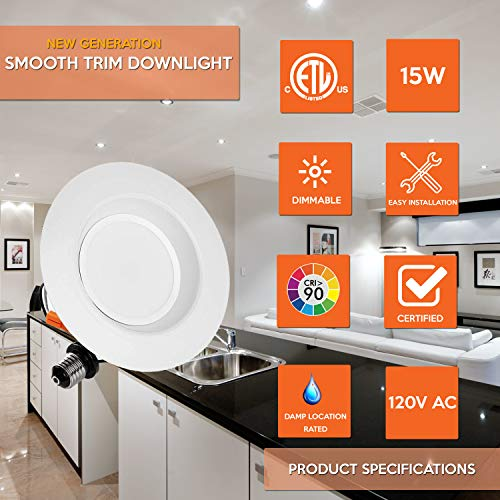 4'' NG LED Smooth Trim Downlight,650 Lumens, 3000K 10W, Recessed Retrofit, ETL Listed, Energy Star (6 Pack) by EZ In Touch With Tomorrow (Image #7)