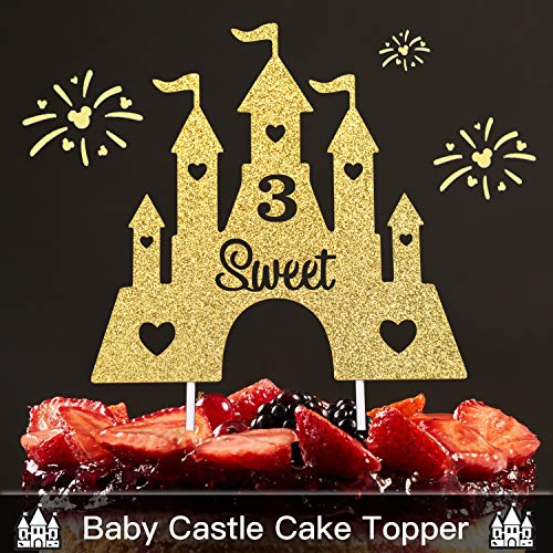 Three Years Old castle Gold Glitter Cake Topper - 3rd Sweet Happy Birthday For Baby Shower Party Princess Castle Turret Decorations Supplies