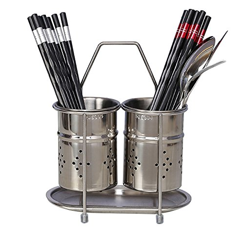 304 Stainless Steel Hanging 2 Compartments Mesh Utensil Dryi