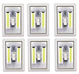 Set Of 6 LIGHT-SWITCH Battery Operated Cordless Light Using Super Bright COB LED Technology for Baby Nursery, Hallways, Bedrooms, Closets, RV's. No Wiring-Batteries Included - 6 Pk