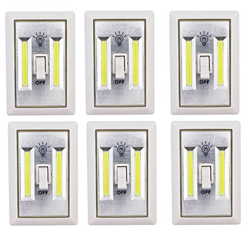 Set Of 6 LIGHT-SWITCH Battery Operated Cordless Light Using Super Bright COB LED Technology for Baby Nursery, Hallways, Bedrooms, Closets, RV's. No Wiring-Batteries Included - 6 Pk by Diamond Vision