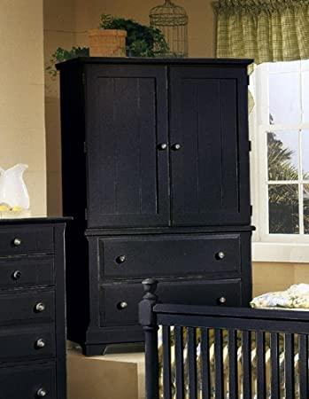 Superbe Cottage Armoire/Entertainment Center  Black Finish By Vaughan Bassett  Furniture