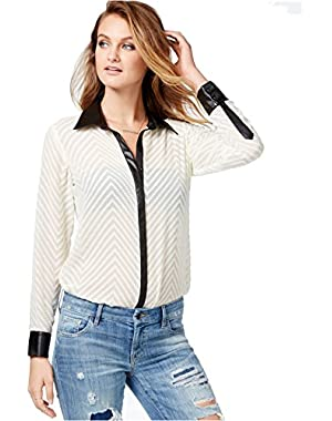 Guess Women's Sheer Pleather-Trim Chevron-Pattern Button-Up Shirt
