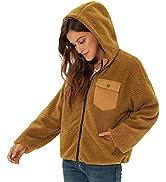 GRACE KARIN Women's Fashion Long Sleeve Hooded Zip Up Faux Shearling Shaggy Coat Jacket with Pock...