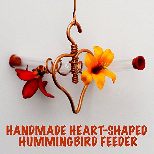 Hummingbird Feeder Glass Tubes Sweet B&B - Custom Handmade Feeder - Heart-shaped Copper Wiring (Small)