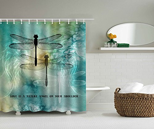 KINBEDY Cozyholy Mordern Shower Curtain 100% Waterproof for Bathroom Original Design Bath Decor (Dragonflies, 180x180cm)