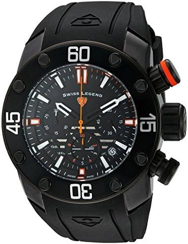 Swiss Legend Men s Lionpulse Quartz Stainless Steel and Silicone Watch, Color Black Model 10616SM-BB-01-OA
