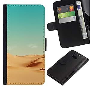 YiPhone /// Tirón de la caja Cartera de cuero con ranuras para tarjetas - Minimalista Paisaje del desierto - HTC One M8