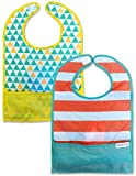 Bazzle Baby GoBib 2 Pack, Folding Baby or Toddler Bib with Pull String for Easy Carrying & Fast Use, Moisture Resistant & Machine Washable Nylon Stain Protection on the Go