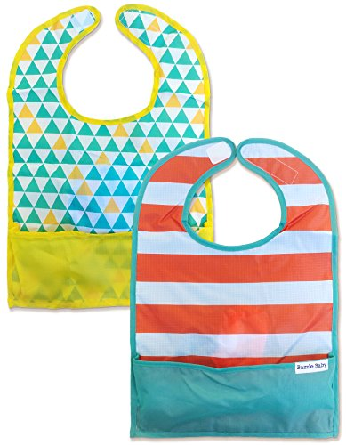 Bazzle Baby GoBib Travel Bib - Innovative Folding Baby Bib for Babies and Toddlers - Moisture Resistant - Machine Washable Mess Free Bib - Teal Triangles & Chunky Stripes (2 ()