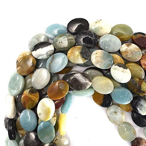 20mm Multicolor Blue Amazonite Flat Oval Beads 16
